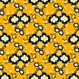 Black flowers on yellow background seamless pattern Stock Photos