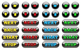 Black fluorescent web buttons Stock Photography