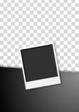 Black flyer design with polaroid photo frame Stock Photo