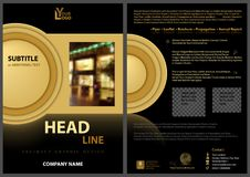 Black Flyer Template with Golden Design Elements Stock Photography