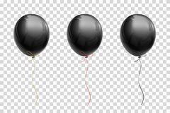 Black Flying Balloon With Ribbons Of Gold, Red, Black On A Trans Royalty Free Stock Photography