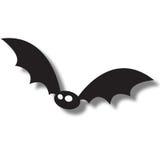 Black flying bat. Illustration of black flying bat with shadow against white background Stock Photos
