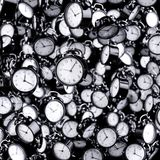 Black flying ringing alarm clocks. Black and white time background concept. 3d rendering illustration Royalty Free Stock Image