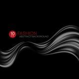 Black flying silk fabric. Fashion background. Vector illustration Royalty Free Stock Photo