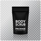Black Foil Body Scrub Pack Pouch Sachet Bag Packaging with Zipper. Vector  Mock up temlate. For your design Stock Photo