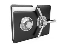 Black folder and combination Lock. Data security concept. Black folder and combination Lock. 3D image  on white Stock Images