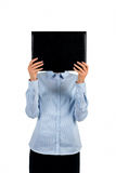 Black folder covering woman's face. Royalty Free Stock Photography