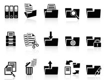 Black folder icons set Royalty Free Stock Image