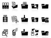 Black folder icons set. Isolated black folder icons set from white background Royalty Free Stock Image