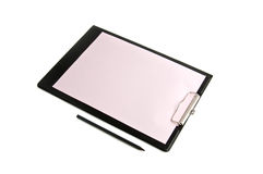 Black folder with a paper. Black folder with pink paper and a pencil Stock Images