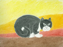 Black Folk Cat. Folk Cat Artwork in oil pastel Stock Photo