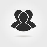 Black followers icon with shadow Royalty Free Stock Image