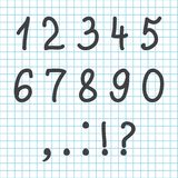 Black font hand drawn numbers and characters. Vector illustration stock illustration