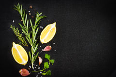 Black food background with fresh aromatic herbs and spices, copy Royalty Free Stock Image