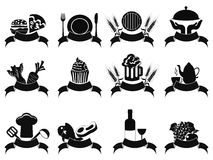 Black food banner icons set Stock Photography