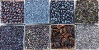 Black Food. Eight small squares of black food royalty free stock photo