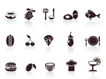 Black food icons Stock Images