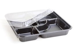 Black food plastic container Royalty Free Stock Image