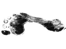 Black foot print. Isolated over white background Royalty Free Stock Photo