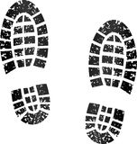 Black footprints. Illustration of black footprints on white background Stock Photo