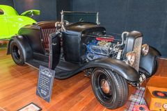 Black 1930 Ford roadster hot rod car. At Victorian Hot Rod & Cool Rides Show in Melbourne, Australia Stock Image