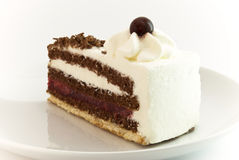 Black Forest Cake. A piece of Black Forest Cake on plate royalty free stock images