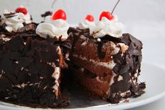 Black forest cake. Photograph of black forest cake pastry bakery Stock Image