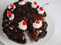 Black forest cake. Photograph of black forest cake pastry bakery Royalty Free Stock Photography