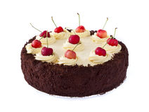 Black forest cake. Black forest chocolate cake with whipped cream and cherries isolated on white stock images