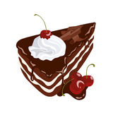 Black Forest Cake. Chocolate cake with cherry and whipped cream royalty free illustration