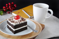 Black Forest Cake with Cup of Coffee Royalty Free Stock Photos