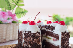 Black forest cake decorated Royalty Free Stock Photo