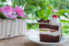 Black forest cake decorated Stock Images