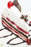 Black Forest cake with fresh cream and cherrie Royalty Free Stock Images