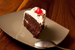Black Forest Cake with maraschino cherry Stock Image