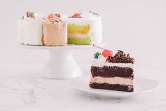 Black forest cake on  plate. Black forest cake on white plate Royalty Free Stock Photography
