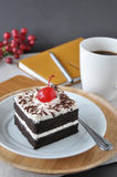 Black Forest Cake on Plate with Hot Coffee Stock Images