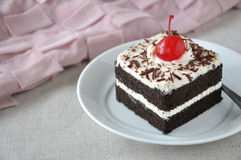 Black Forest Cake on Plate with Pink Fabric on Background Stock Image