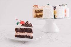 Black forest cake on  plate. Black forest cake on white plate Royalty Free Stock Images