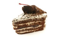 Black Forest Cake Slice. Isolated on a White Background royalty free stock photography