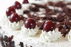 Black forest cake. Traditional black forest cake with whipped creme, chocolate and cherries Stock Images