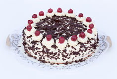 Black Forest cake on a white background Royalty Free Stock Photos