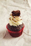 Black forest chocolate cupake with whipped cream frosting. Black forest chocolate cupake with clear space for text Royalty Free Stock Photo