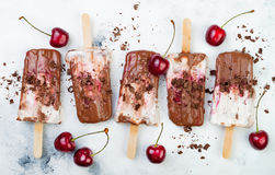 Black Forest chocolate fudge popsicles with roasted cherries and coconut cream. Vegan creamy ice pops, nicecream, fudgesicles. Black Forest chocolate fudge Stock Images