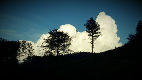 Black forest. Clouds over the owl mountains in poland, bielawa Royalty Free Stock Photos