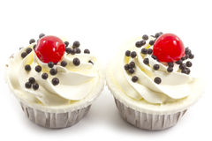 Black forest cup cake. On white background Stock Photos
