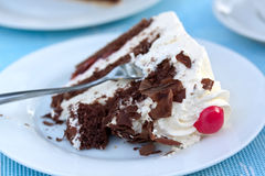 Black Forest gateau,or cherry Pie with cream Stock Image