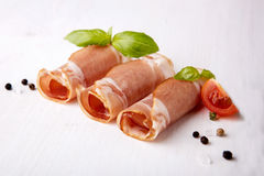 Black forest ham on white Royalty Free Stock Images