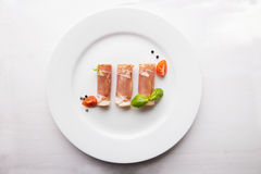 Black forest ham on white plate Stock Photography