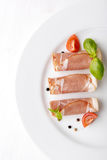 Black forest ham on white plate Stock Images
